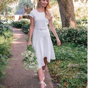 Gal Meets Glam Cecelia Belted Dress Asymmetrical